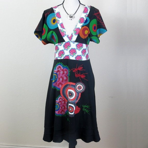 great prices price reduced cute Desigual Floral Geometric Ant Print Dress Size M